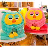 BOLAFYNIA owl pillow with blanket sofa cushions plush toy children birthday Christmas gift stuffed toys air conditioning blanket