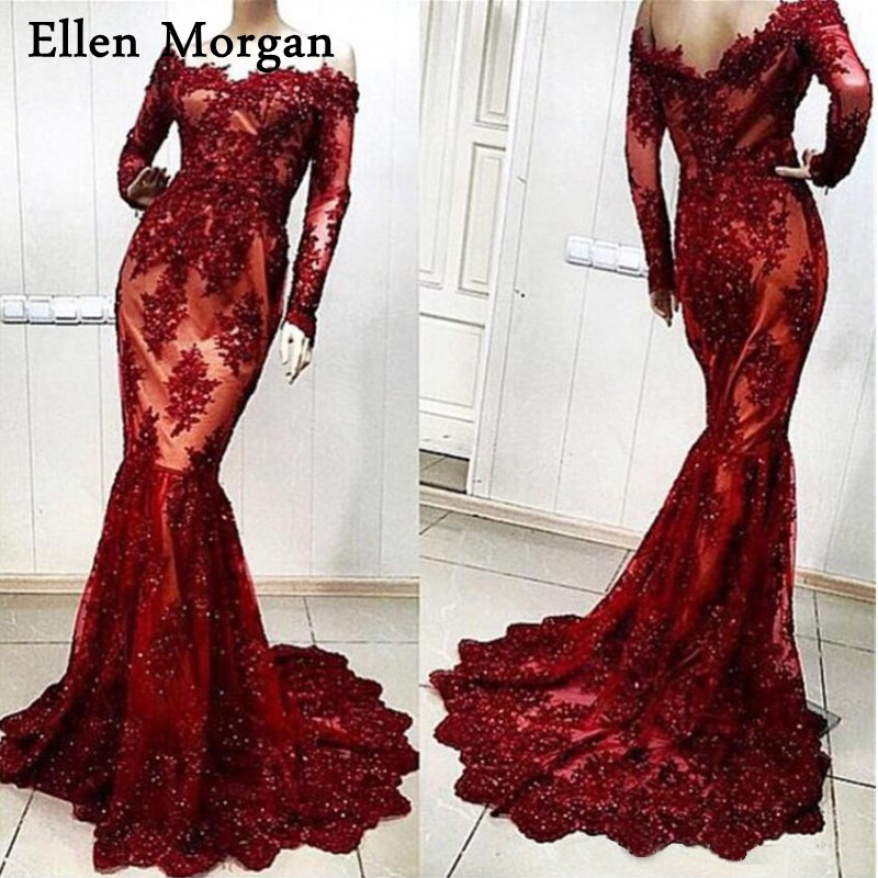 Burgundy Mermaid Evening Dresses 2019 Special Occasion Actual Images Lace Beaded Contrast Color Sexy Formal Gowns For Women Wear