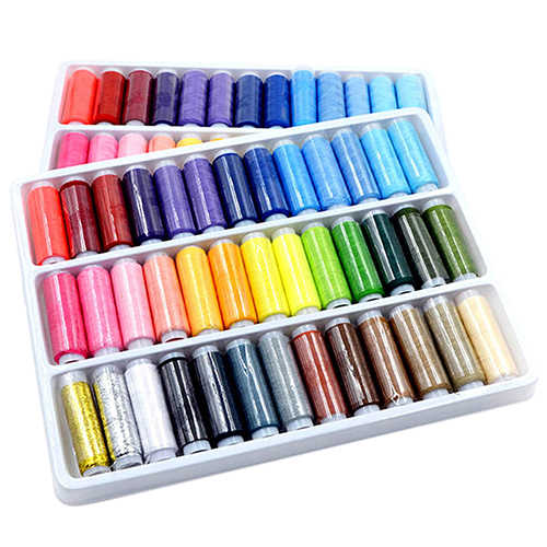 39 Mixed Pure Color Polyester Handmade Sewing Thread for Machine Hand 200 Yard Each Spool Stitching Home Embroidery Line Box