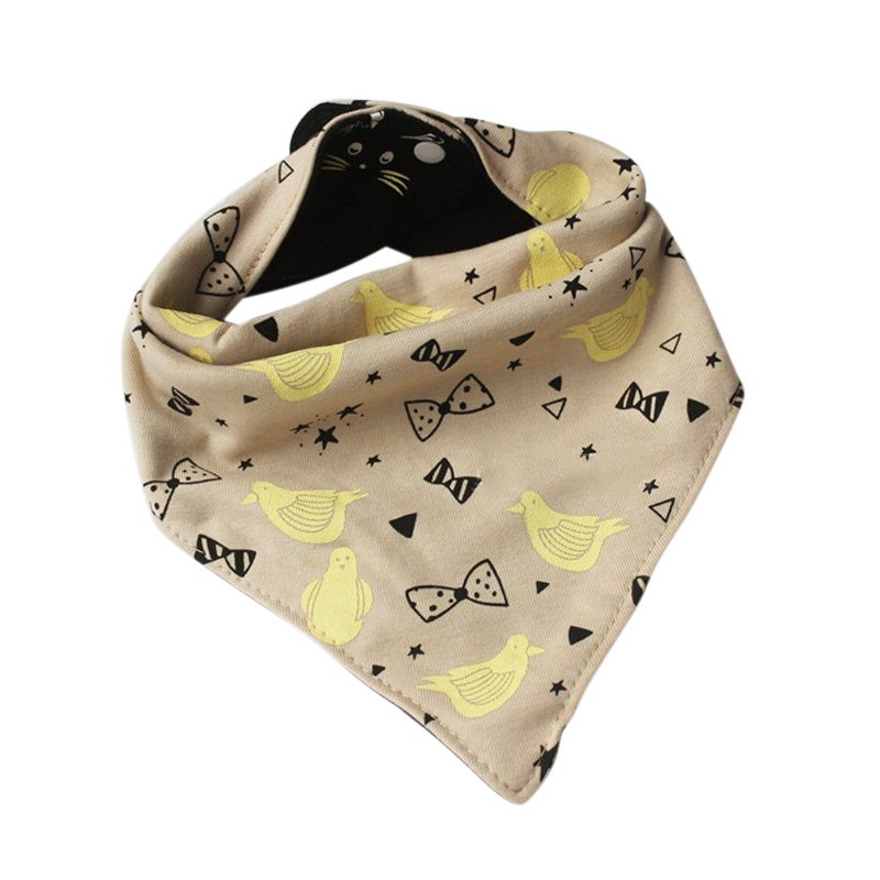 Dual-side Use Baby Bird Bow Rabbit Pattern Feeding Bib Kids Toddler Burp Cloths Infant Triangle Scarf Saliva Towel
