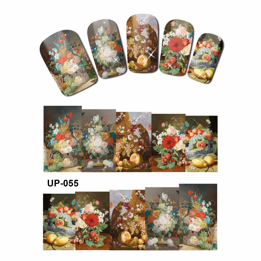 NAIL ART BEAUTY TATTOO WATER TRANSFER DECAL SLIDER OIL PAINTING VINTAGE VASE SUN FLOWER ROSE CHALET UP055-060