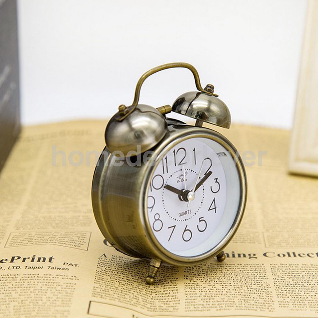 RETRO DOUBLE BELL ALARM CLOCK METAL BEDSIDE WAKE UP ALARM HAMMER BELL TIMER, DESK, TABLE STAND CLOCK, KIDS GIFT