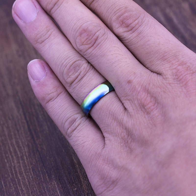 6mm Nuevo Arco Iris colorido Acero inoxidable anillo de boda anillo amante pareja anillos Neutral joyería de moda regalo