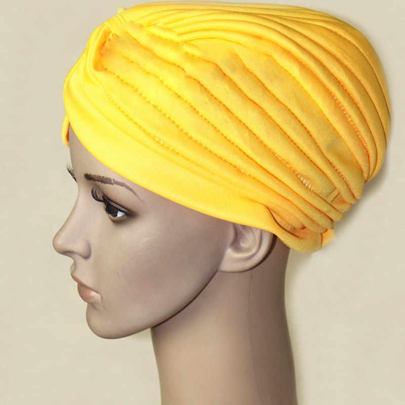 Модные женские хиджаб тюрбаны кепки мусульманская твердая шляпа мусульманские индийские шапки новый KNG88
