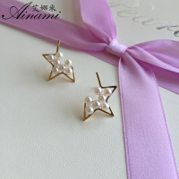 Ainami Newest Jewelry Mini 3mm White Akoya Star Pearl Earrings 18k Yellow Gold Studs Earrings