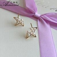 Ainami Newest Jewelry Mini 3mm White Akoya Star Pearl Earrings 18k Yellow Gold Studs Earrings