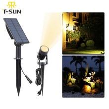 T-SUN luz solar ao ar livre solar powered spotlight ip65 3000k/6000k jardim luz solar holofotes lâmpada para caminho quintal decoração