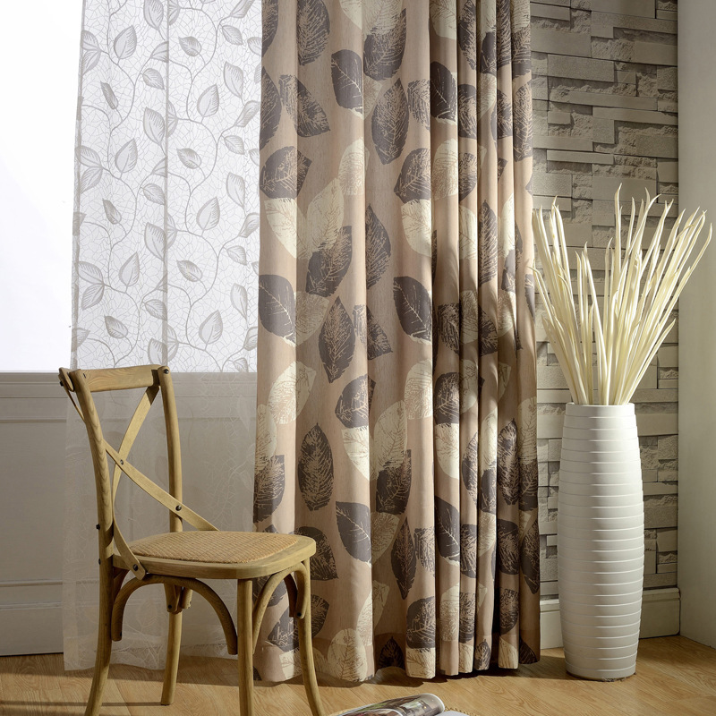 Modern Cotton Linen Leaves Printed Blackout Curtains Window Treatment Embroidered Tulle Curtain For Living Room/Bedroom
