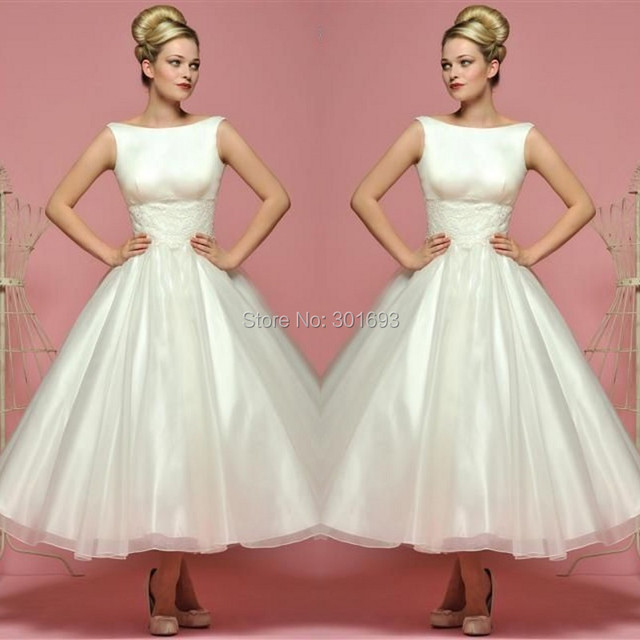 Vintage Wedding Dresses 50s 60s: Oumeiya OMW115 Boat Neck Organza 50S Or 60S Vintage Tea