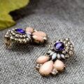 2016 Bohemia blue kitty earing rhinestone flower earring for girls aros boucle d'oreille punk crystal earrings drops women E2310