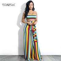2018 Sexy Women 2 Two Pieces Sets Striped Prints Bandage Lace Up Night Club Crop Top