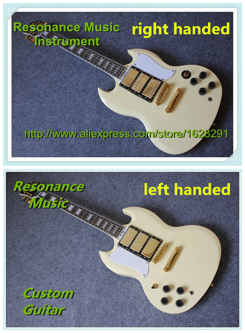 China OEM Guitar Factory Reliable Service Custom SG Guitar G400 Model Cream Yellow 3 Pickups Golden Hardware In Stock hot factory custom shop sg g400 electric guitar high sound quality factory direct sales green