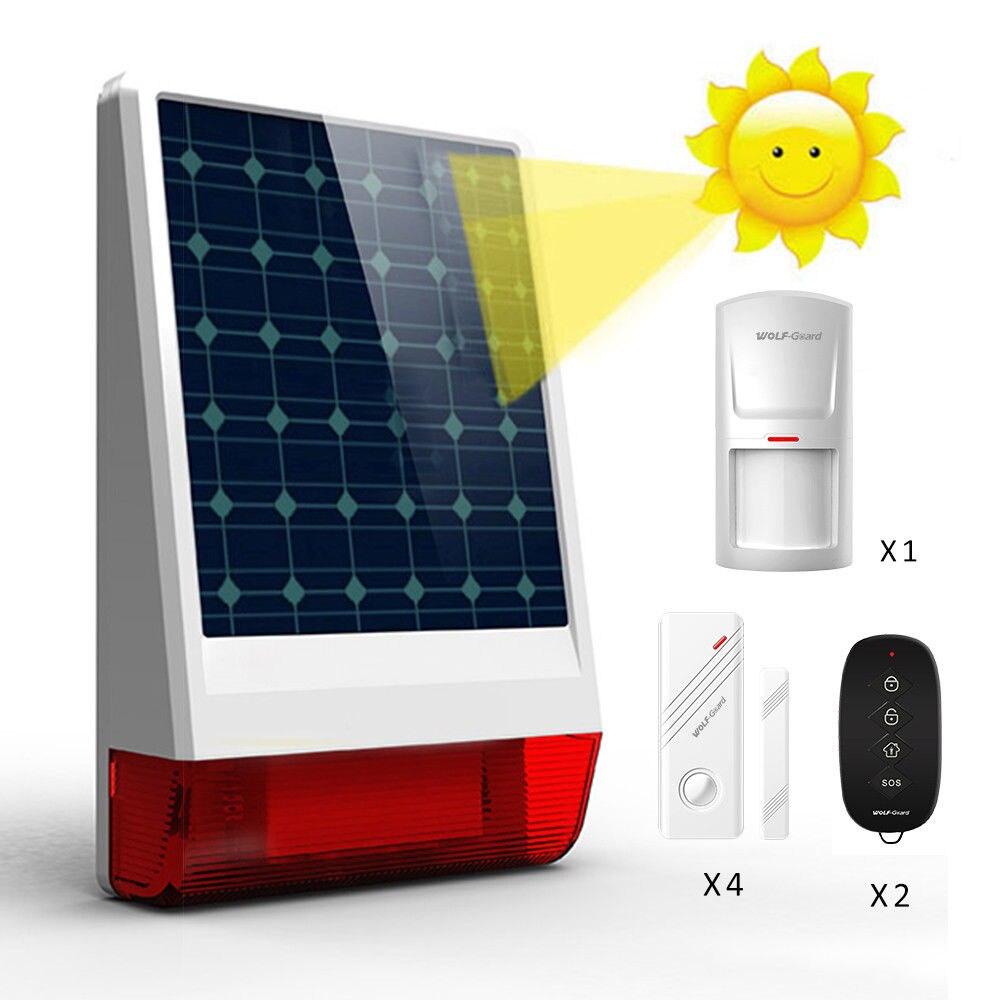 Wolf-Guard Wireless Outdoor Weather-Proof Solar Siren Security Alarm Burglar System Door Sensor PIR Motion Detector LB-W06