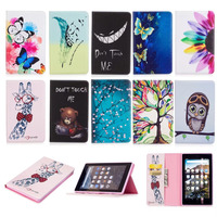 Ultra Slim PU Leather EReader Case For Amazon Kindle FIRE 7 2017 Exquisite Pattern Flip Cover