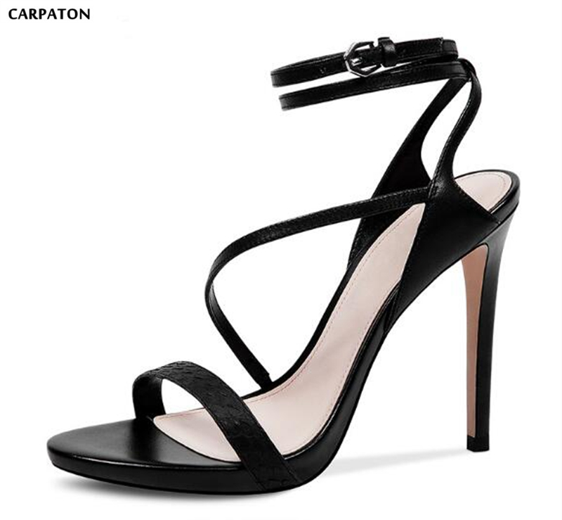 Carpaton 2018 Summer New Western Style Real Leather Women Shoes Pointed Toe Thin High Heels Ankle Buckle Strap Style Sandals
