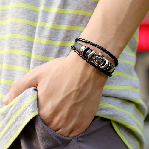 men jewelry bracelet trendy leather braided bracelets cross charm