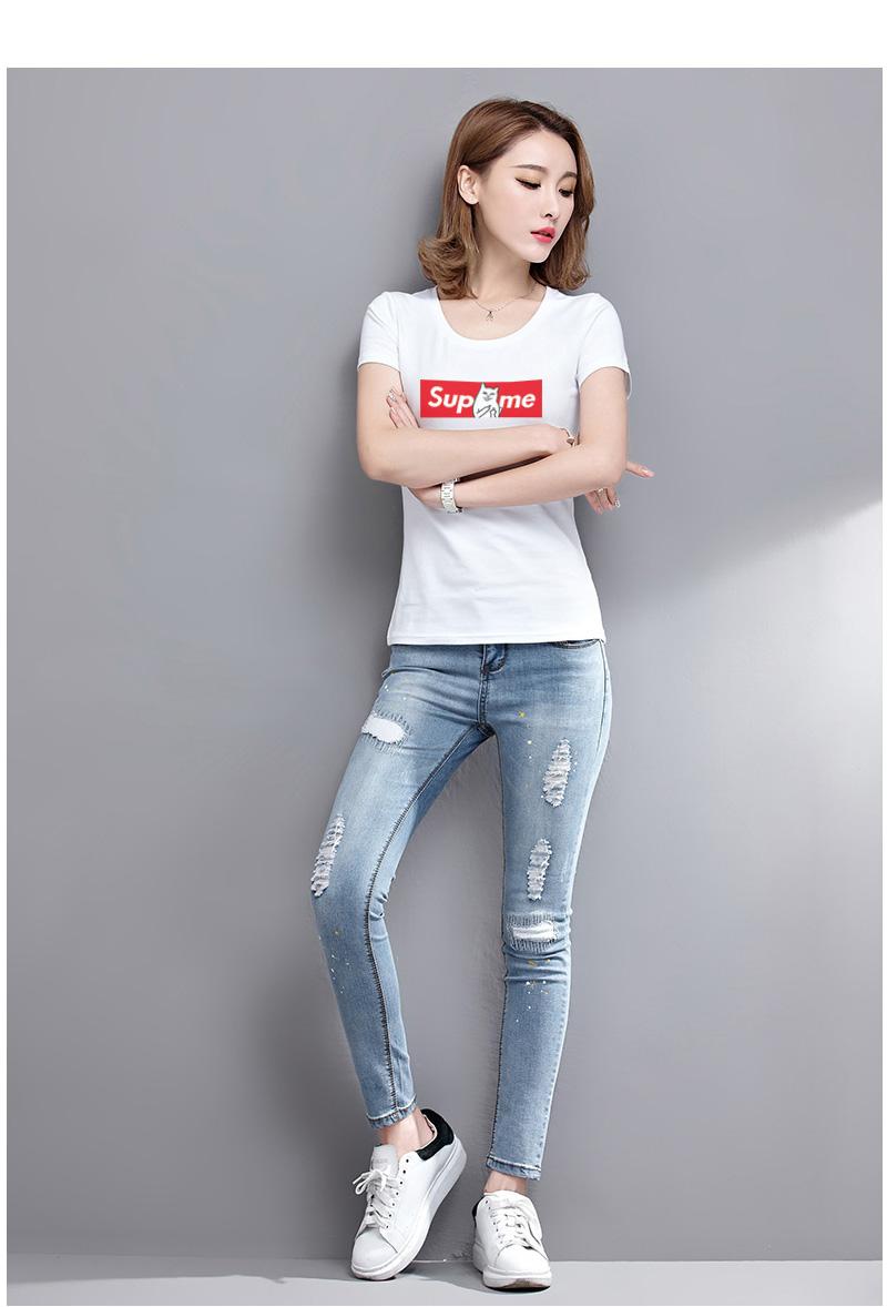 HTB1f9ltSVXXXXXYapXXq6xXFXXXc - Women T shirt Cartoon Middle Finger Cats Short Sleeve PTC 215