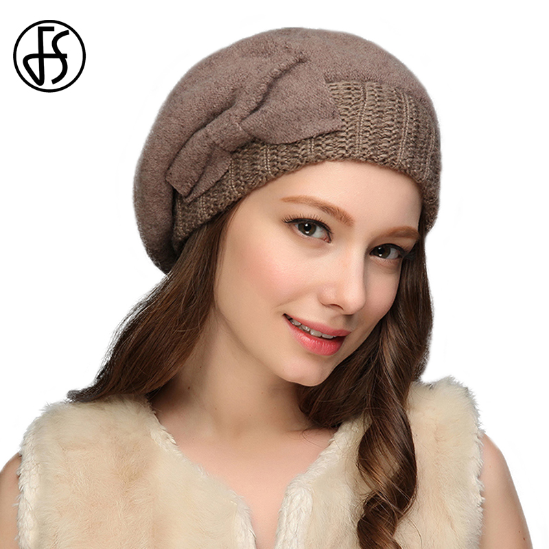 FS Retro Wool Beret French Artist Felt Knit Beanie Slouchy Hat With Bow Winter Hats For Womens Skullies Beanies Boina Mujer