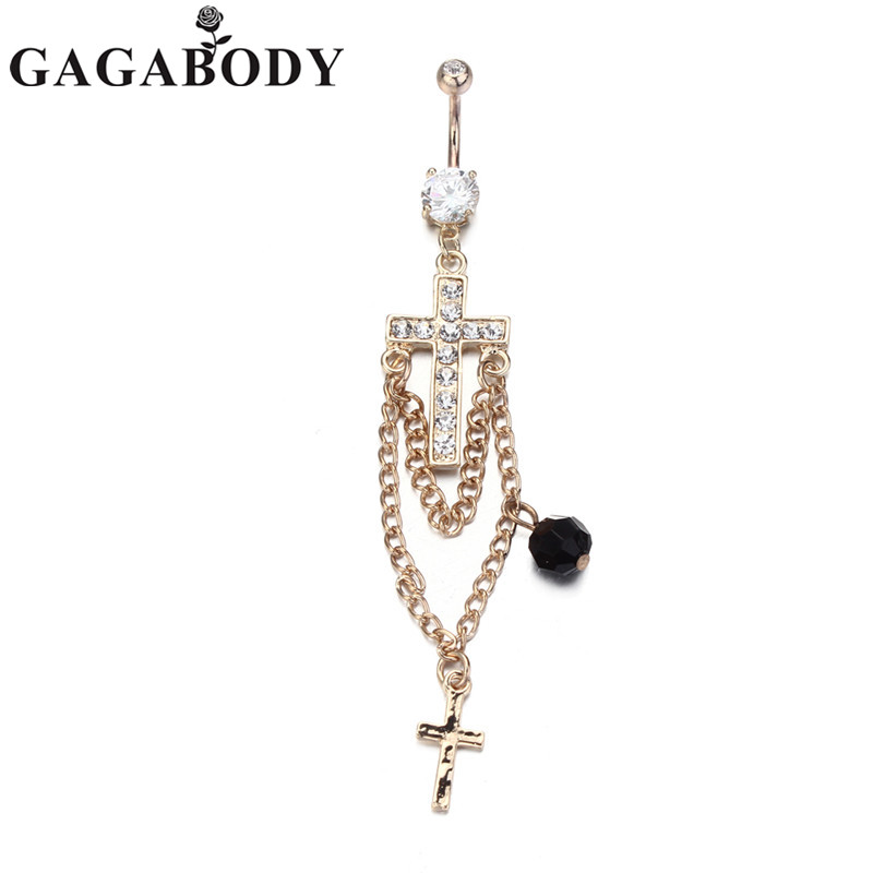 Newest 1PC Cross Belly Ring Long Dangle 14G Multi Paved with Chains and Single Bead Gold Plated Navel Ring
