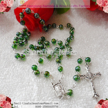 Free shipping beautiful 6mm AB coated Green color glass round bead rosary necklace silver chain rosary religious rosario