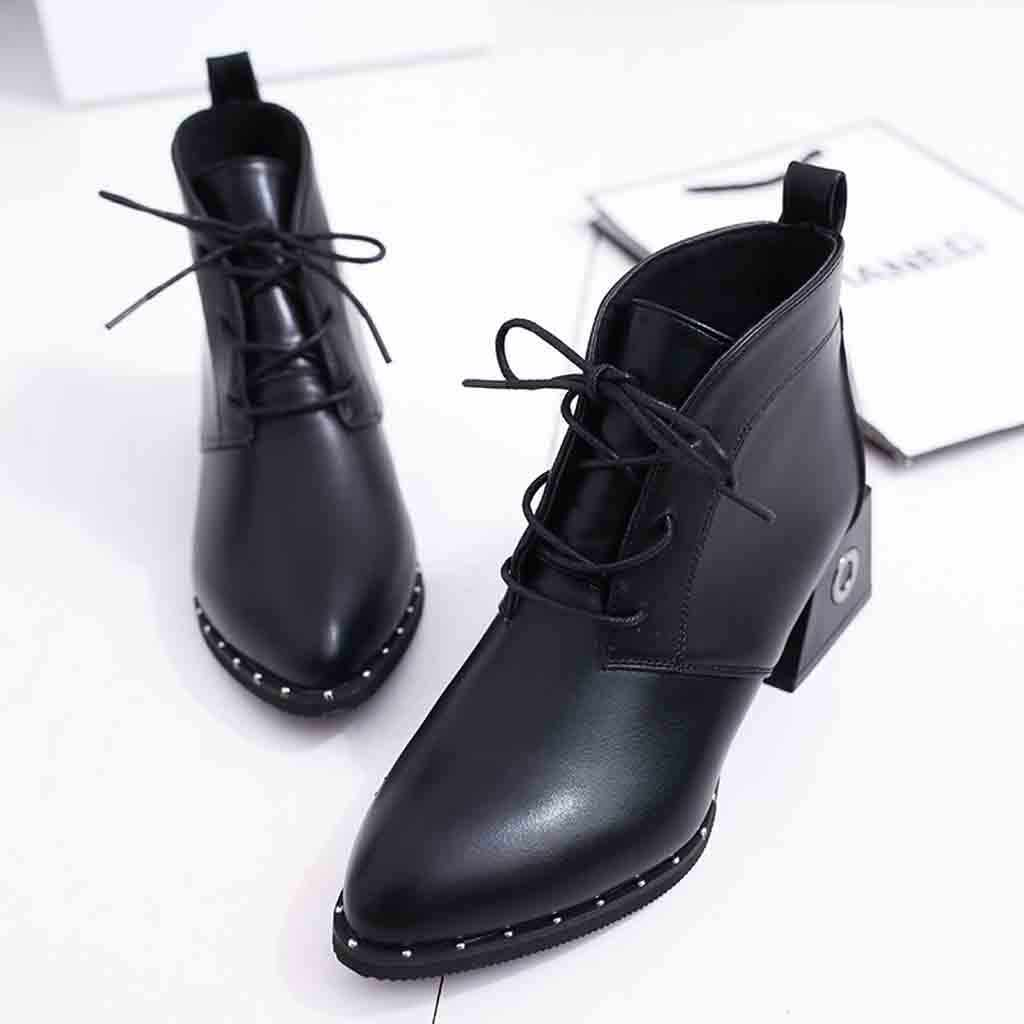 YOUYEDIAN женские ботинки с заклепками модные удобные кружево до острый носок ботильоны botas mujer invierno #1135