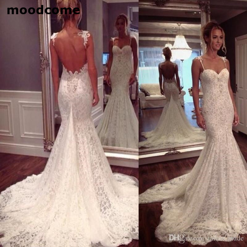 Mermaid Style Lace Wedding Gowns: 2019 Low Back Wedding Dresses Lace Spaghetti Straps