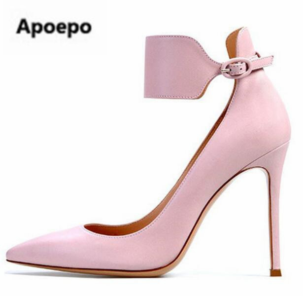 78d89e599070 Selling brand pink purple grey suede leather high heel pumps shoes pointed  toe ankle strap women dress pumps ladies shoes 2017
