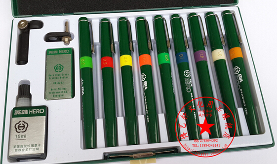 Authentic Hero Technical Pen High Quality Hook Line Pen Architectural Design Drawing Pen Repeated Filling Ink Pen ( 9pens/ Set )