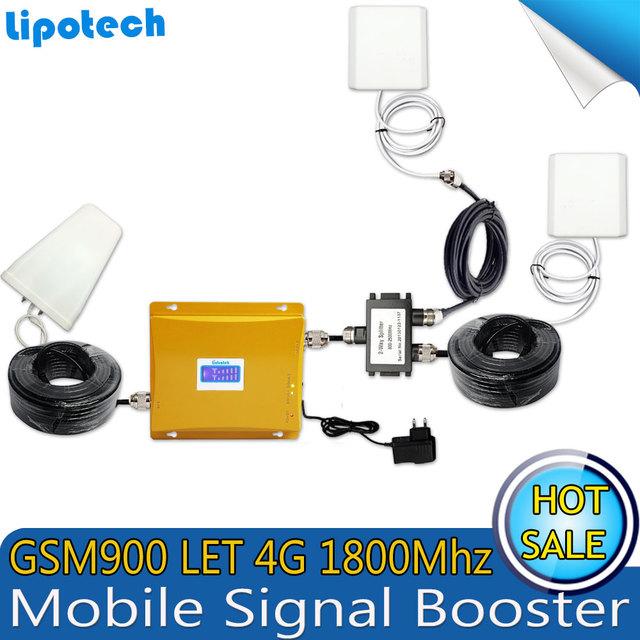4G LTE 1800 GSM 900 Dual Band Sinal de Telefone Celular Móvel repetidor GSM 900 Mhz DCS 1800 Mhz Sinal de Celular Amplificador de potência Com LCD