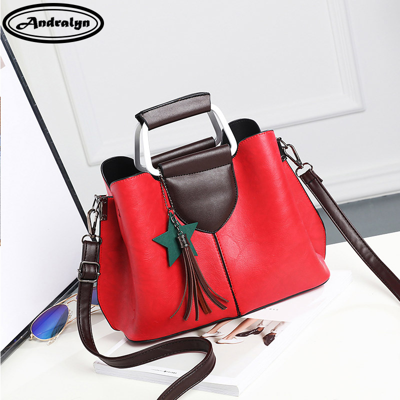 Andralyn Fashion Women PU Leather Handbags Ladies Simple Shoulder Bags Tassels Tote Bag Female Retro Vintage Messenger Bag