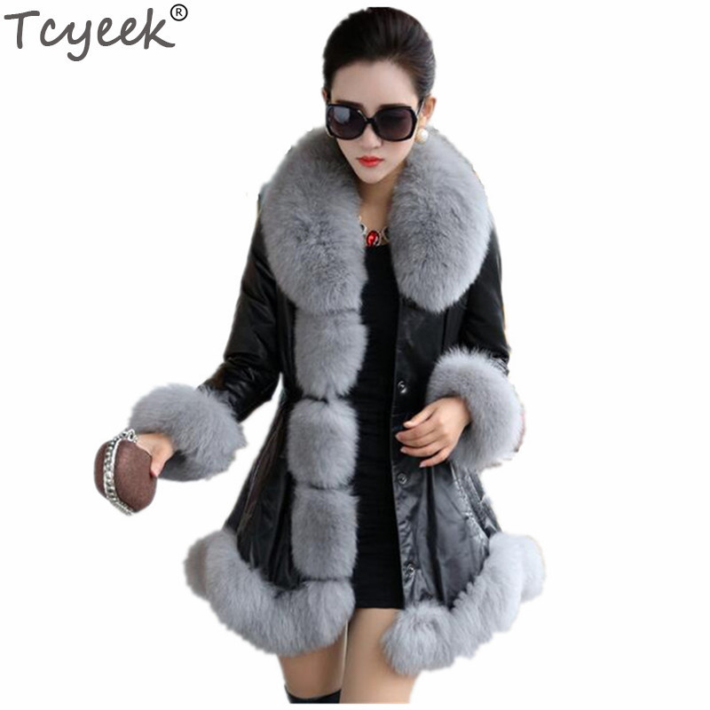Tcyeek Winter Warm Women's PU Leather Jacket Faux Fox Fur Coat White Plus Size 4XL 5XL 6XL Jaqueta De Couro Feminino Overcoat