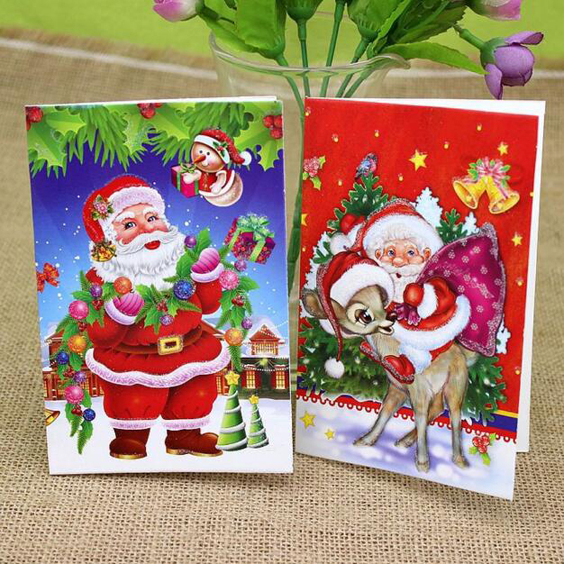 (18 pieces/set)Lovely Design Cute Small Paper Gift Cards Colorful MIni Cartoon Santa Claus Greeting Card Merry Christmas Card