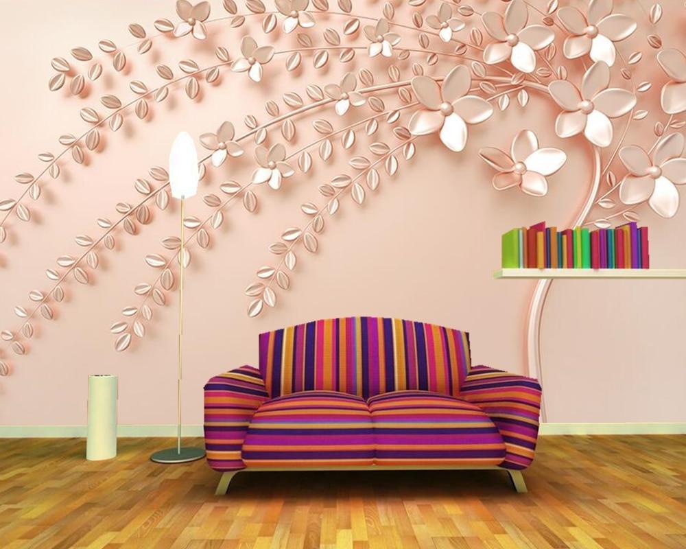 Papel De Parede Rose Gold An Embossed Tree 3d Wallpaper Murals