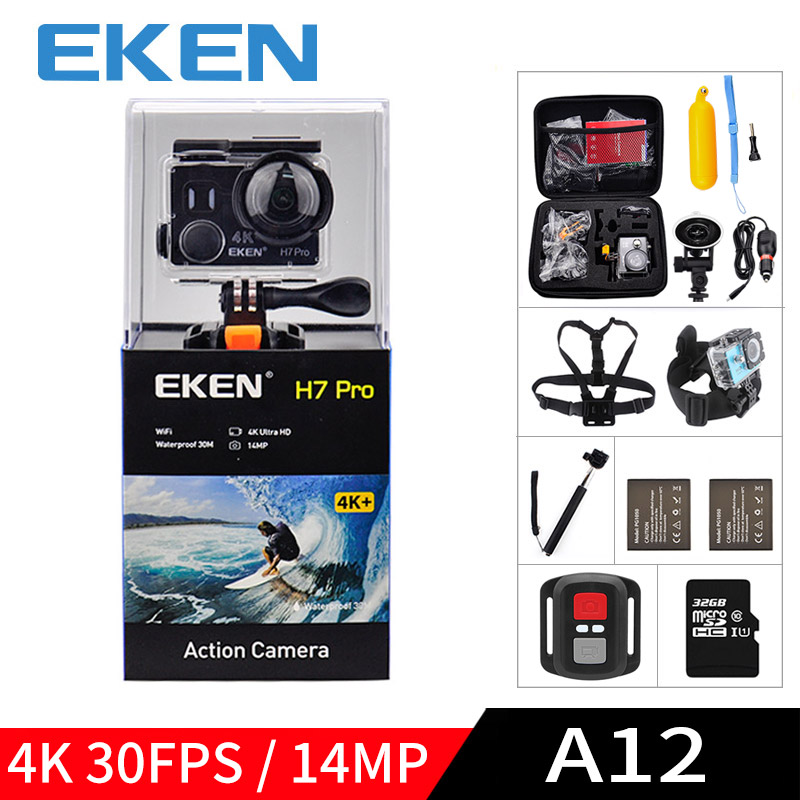 EKEN A12 Ultra HD 4K 30FPS WIFI Action Camera waterproof 14MP 1080p 60fps H7pro Ambarella go underwater extreme pro sport cam eken h6s a12 ultra 4k 30fps wifi action camera 30m waterproof 1080p go eis image stabilization ambarella 14mp pro sport cam