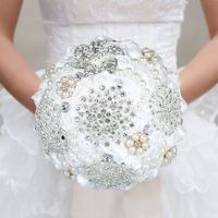 18cm Handmade Wedding Brooch Diamond Bridal Bouquet Satin Rose Flower with Rhinestone Artificial Pearls Beads Decorated