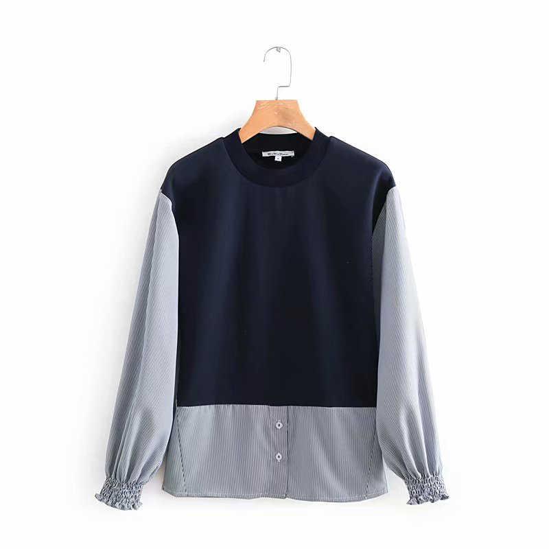 2019 New Fashion Women Black Patchwork Gray Long Sleeve Blouse Female O-neck Casual Za Shirts Outwear blusas mujer de moda
