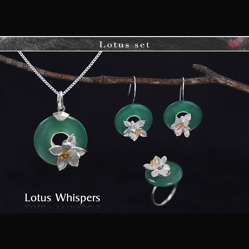 Lotus Fun Real 925 Sterling Silver Handmade Fine Jewelry Lotus Whispers Jewelry Set With Ring Pendant Necklace Drop EarringLotus Fun Real 925 Sterling Silver Handmade Fine Jewelry Lotus Whispers Jewelry Set With Ring Pendant Necklace Drop Earring