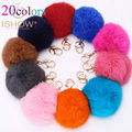 20 Colors Trinket 10cm Fur Ball Key Chain Highly Genuine Rabbit Fur Ball Keychain Women Fur Pom Pom Keychain Key Chain