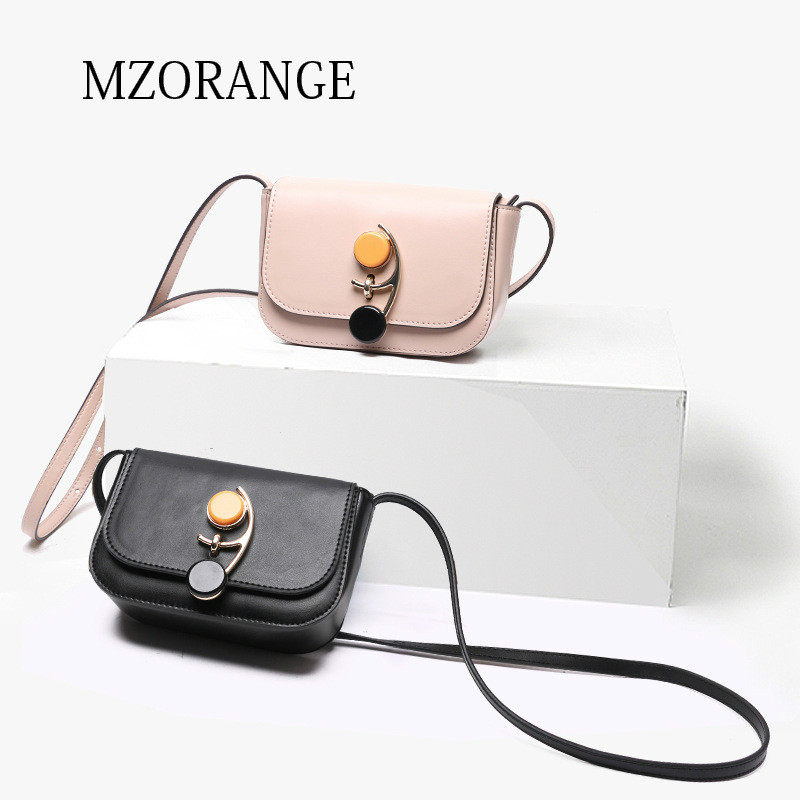 MZORANGE brand Genuine Leather women's mini Flap bag handbags New Fashion Lock design Small shoulder bag Ladies crossbody Bags