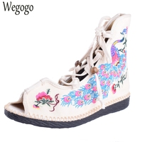 Chinese Women Sandals National Peacock Embroidery Canvas Ankle Wrap Linen Lace up Dance Ballet Soft Sandals Sapato Feminino
