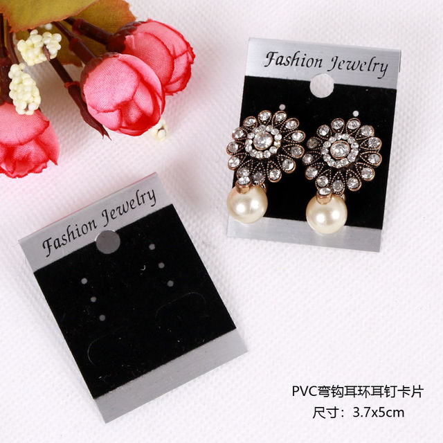 200pcs Earring Organizer Ear Studs Jewelry Display Rack Black Velvet Plastic Cards Custom Printed