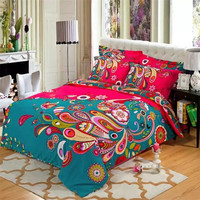 Fadfay Bohemian Style Cotton Bedding Set Floral Printed Bed linens Queen Size 4pcs Duvet Cover Flat Sheet Pillow Case Hot sale