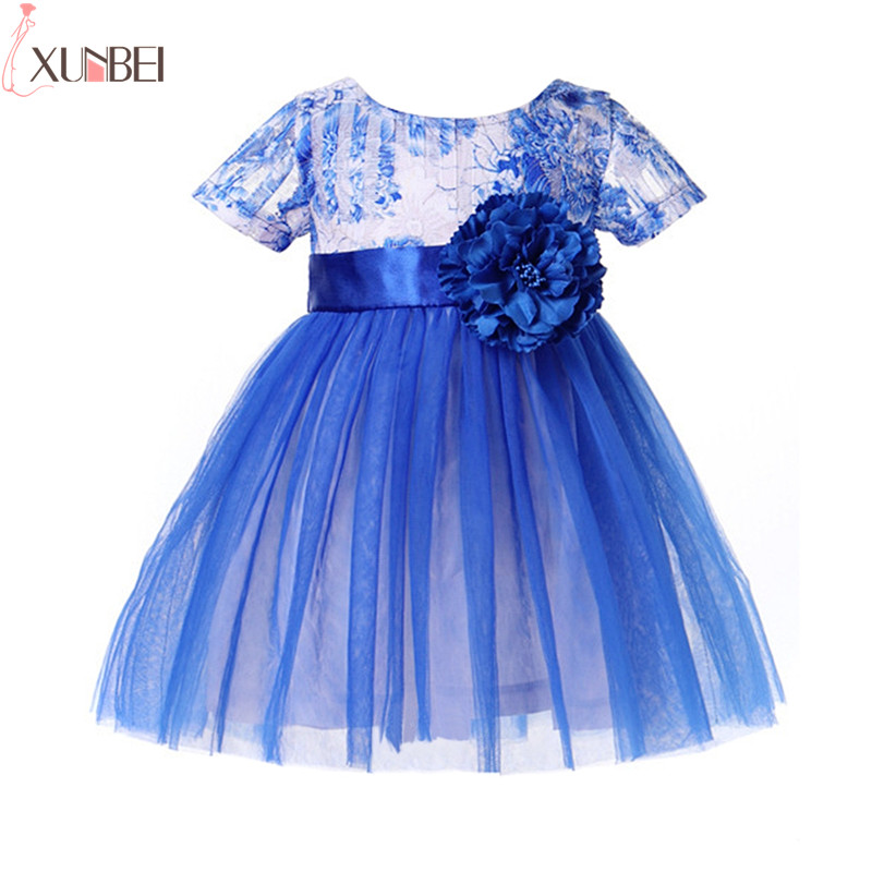 pretty blue lace flower girl dresses 2019 a line little