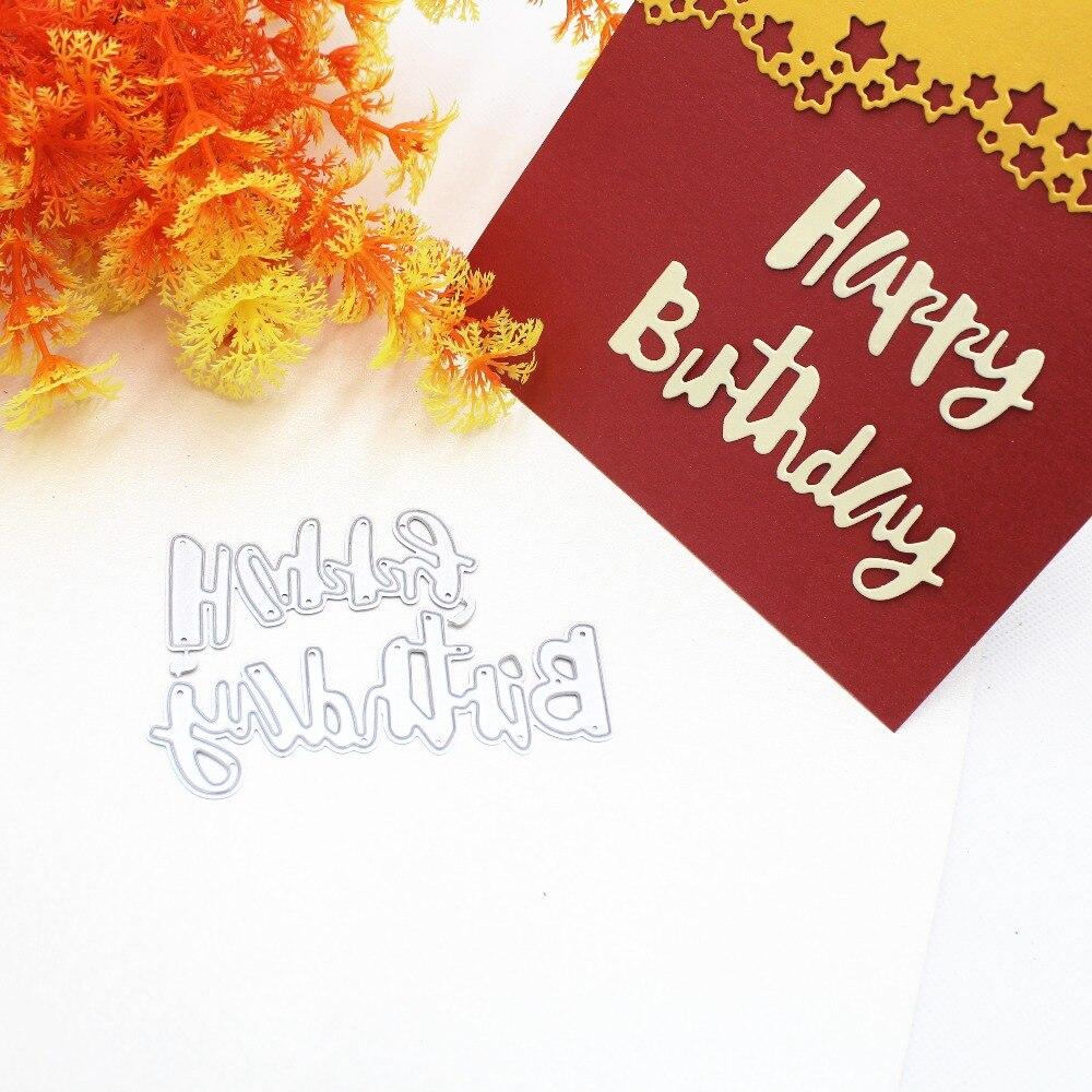 Happy Birthday Cutting Dies DIY Scrapbooking Embossing Album Paper Cards Craft