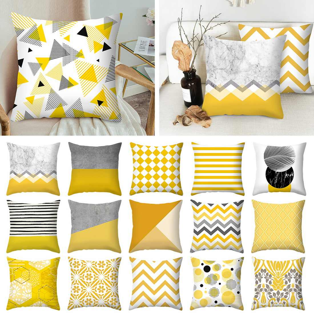 Urijk Yellow Geometric Printed Throw Pillow Case Sofa Car Waist Cushion Cover Office Kussenhoes Housse de Coussin Pillowcase