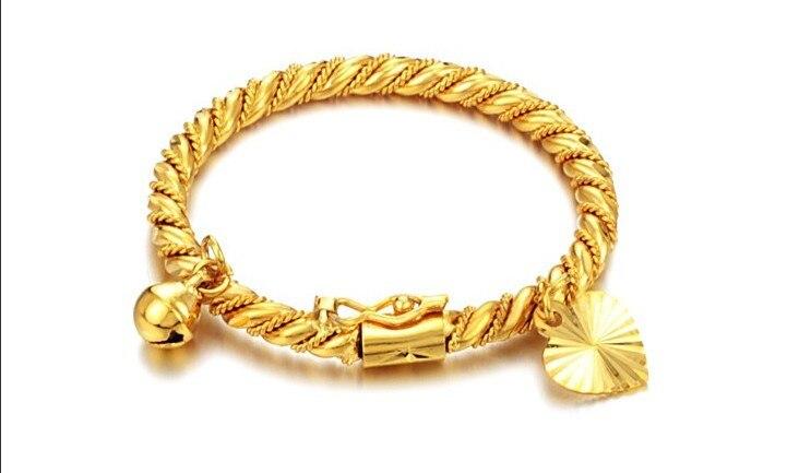 2015 New 18k Gold Plated Bell Heart Design Bracelet Children Boys