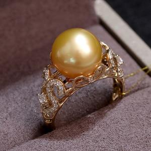 Image 3 - YS 2.68 gramów 14 K z litego złota pierścionek jubileuszowy 10 11mm prawdziwy ze słoną wodą perła z Morza Południowego pierścień Fine Jewelry