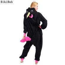 נשים בעלי החיים פיג מה נקבה סלעית הלבשת Kigurumi שחור פגסוס Unicornio Cartoon Pyjama חורף פיג מה סט פיג מות מבוגרים