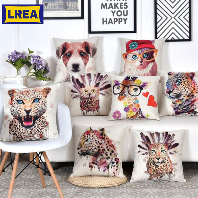Brand 45X45CM Cotton Linen colourful dog cushion cover for children 3D cat Throw Pillow Car Chair Home Decor Pillow Case LREA