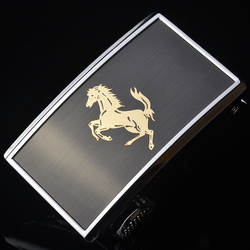 3,5 см Ширина пряжки для Для мужчин серебристого металла животное лошадь внутренняя через автоматический Пряжка для натуральной кожи Ремни
